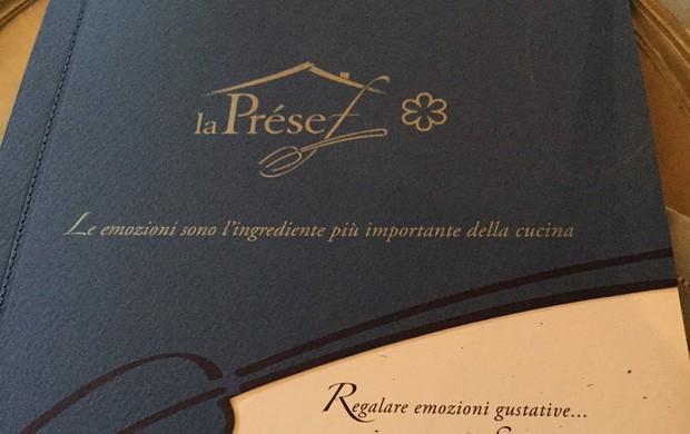 Il ristorante La Présef presenta la nuova carta