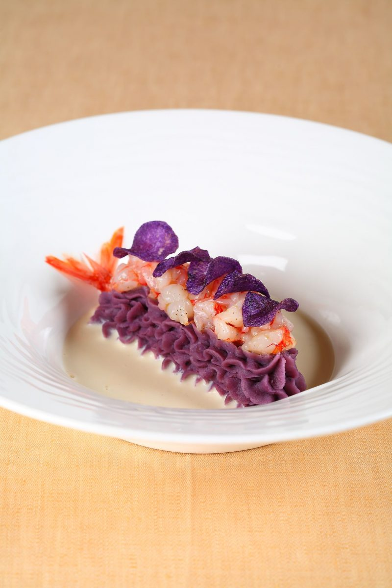 La patata viola, il gambero rosso e il franciacorta