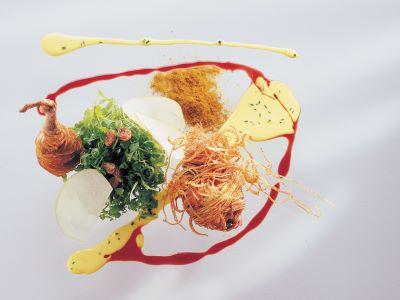 Piccione in croccante di patate con insalata di crescione e salsa d'uovo al curry