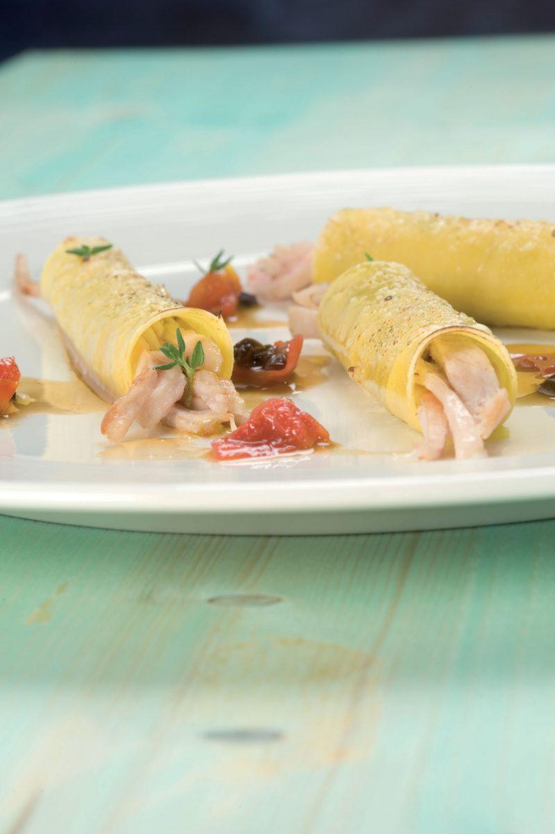 Cannelloni di coniglio, pomodorini confite olive taggiasche