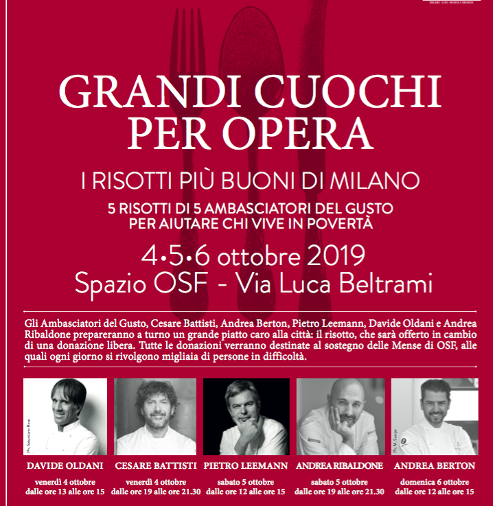 "Opera San Francesco presenta ""Grandi Cuochi per Opera"""