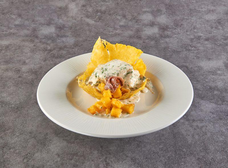 Da IFFCO Italia la ricetta del Baccalà mantecato alla crema su cestino di polenta ideata dallo chef Roberto Carcangiu